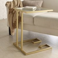 Carolina Cottage Royce Glass Top Side Table in Gold