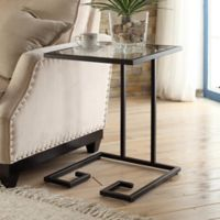 Carolina Cottage Royce Glass Top Side Table in Black