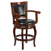 Flash Furniture 26-Inch Wood High Counter Stool with Arms in Black/Cherry
