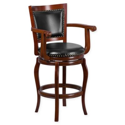 flash furniture 30inch wood high bar stool with arms in blackcherry