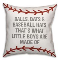 Designs Direct Baseball Boys Square Throw Pillow in Red/White