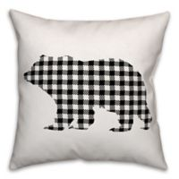 Designs Direct Buffalo Check Bear Square Throw Pillow in Black/White