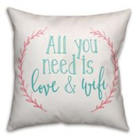 "Designs Direct ""All You Need is Love and Wifi"" Square Throw Pillow in Teal/Coral"