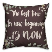 Designs Direct New Beginnings Square Throw Pillow in Brown/Green