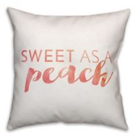"""Designs Direct """"Sweet as a Peach"""" Square Throw Pillow in Orange/White"""