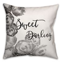 Designs Direct Sweet Darling Square Throw Pillow in Black/White/Grey