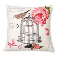 Amity Home Birdcage Square Throw Pillow in Ivory/Pink