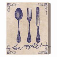 """Bon Appetit"" Utensils 16-Inch x 20-Inch Canvas Wall Art"