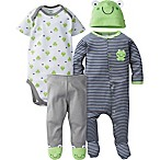 Gerber® Size 6-9M 4-Piece Frog Layette Set in Grey