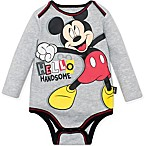 Disney® Size 3M Mickey Mouse Hello Handsome Bodysuit in Grey