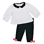 Just Born® Collars & Bows Size 6M 2-Piece Long Sleeve Mini Polka-Dot Top and Pant Set