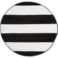 Nottingham Home Breton Stripe 5-Foot Round Area Rug in Black/White