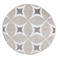 Nottingham Home Geometric 5-Foot Round Area Rug in Grey/White