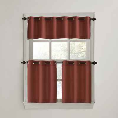 No. 918 Montego Casual Textured Grommet Kitchen Window Curtain Tiers and Valance