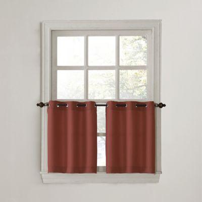 918 Montego Casual Textured 24 Inch Grommet Kitchen Window Curtain Tier Pair In