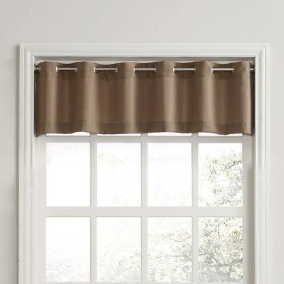 918 Montego Casual Textured Grommet Kitchen Window Curtain Valance In Mocha