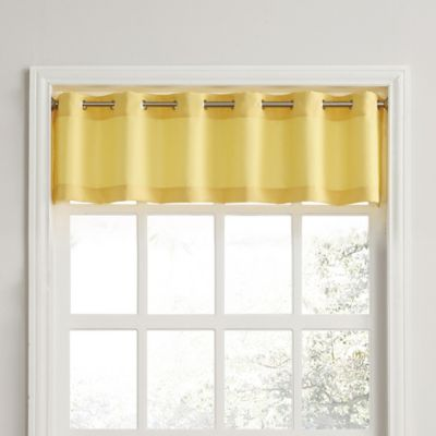 918 Montego Casual Textured Grommet Kitchen Window Curtain Valance In Yellow