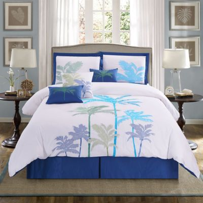 Panama Jack Breezy Palms 7 Piece Reversible King Comforter Set In Aqua