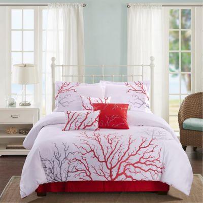 panama jack coral 7piece reversible queen comforter set in coral