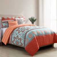 VCNY Home Ezra 5-Piece Reversible King Comforter Set in Burnt Orange/Aqua