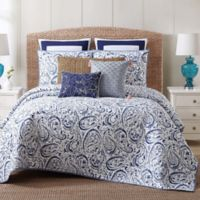 Indienne Paisley Cotton Full/Queen Quilt Set in Navy/White
