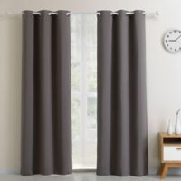 Blackout 54-Inch Grommet Top Window Curtain Panel in Charcoal