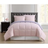 My World Solid Reversible 2-Piece Twin/Twin XL Comforter Set in Blush/Lavender