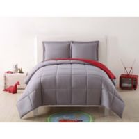 My World Solid Reversible 2-Piece Twin/Twin XL Comforter Set in Grey/Red