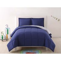 My World Solid Reversible 2-Piece Twin/Twin XL Comforter Set in Navy/Grey