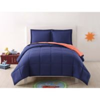 My World Solid Reversible 2-Piece Twin/Twin XL Comforter Set in Navy/Orange
