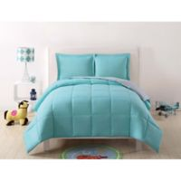 My World Solid Reversible 2-Piece Twin/Twin XL Comforter Set in Turquoise/Grey