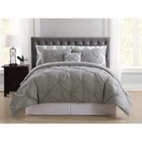 Truly Soft Pueblo Pleated 6-Piece Twin XL Comforter Set in Grey