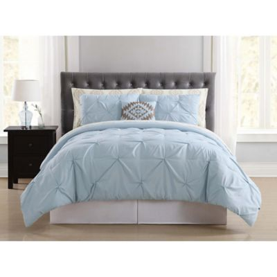 truly soft pueblo pleated 6piece twin comforter set in light blue