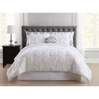 Truly Soft Pueblo Pleated 6-Piece Twin XL Comforter Set in White