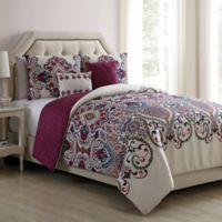 VCNY Home Amherst 5-Piece Reversible Full/Queen Comforter Set in White/Purple