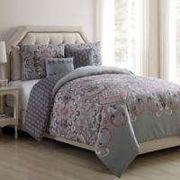 VCNY Home Amherst 5-Piece Reversible Full/Queen Comforter Set in Grey/Blush