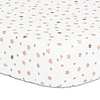 The Peanut Shell® Stars Fitted Crib Sheet in Light Coral