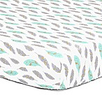 The Peanut Shell® Feather Fitted Crib Sheet in Turquoise
