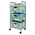 3-Drawer Trolley Cart in Blue/Green