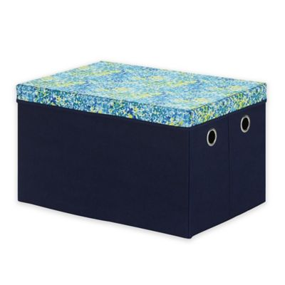 collapsible storage trunk with removable lid in bluegreen