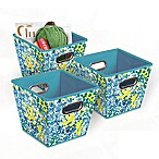 Collapsible Grommet Bins in Blue/Green