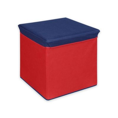 Collapsible Storage Ottoman In Red/Blue