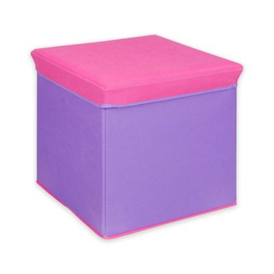 Bintopia Collapsible Storage Ottoman In Pink With Purple Top