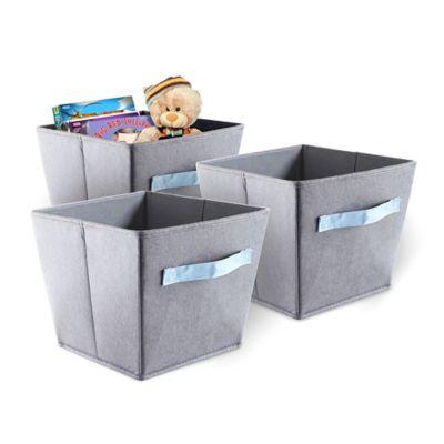 bintopia felt storage bins in grey with blue handles set of 3