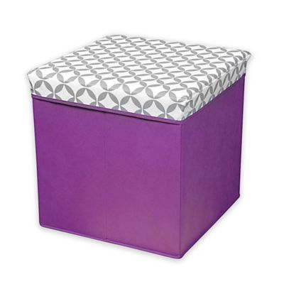 Collapsible Storage Ottoman in Grey/White/Purple - Buy Purple Ottoman From Bed Bath & Beyond