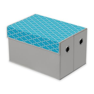 Collapsible Storage Trunk In Turquoise/Grey