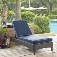 Crosley Palm Harbor Outdoor Wicker Chaise Lounge in Grey with Cushions