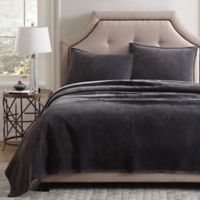 Pure Velvet Full/Queen Quilt Set in Grey
