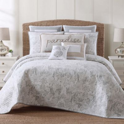tropical plantation toile fullqueen quilt set in greywhite