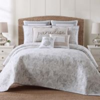 Tropical Plantation Toile King Quilt Set in Grey/White